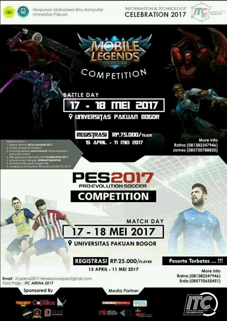 Itc 2017 himakom unpak mobile legend dan pes2017 competition