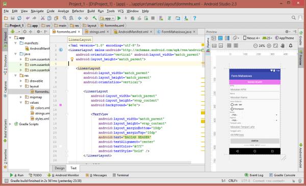 Form Mahasiswa Menggunakan Layout di Android Studio