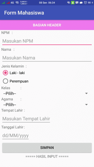 Selected Pada Radio Button di Android Studio