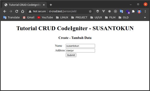 tutorial crud codeigniter input data