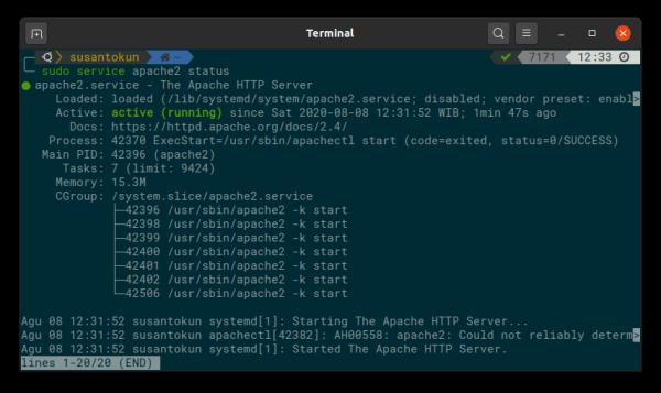 Cara Mengaktifkan Apache2 di Linux