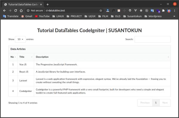 Tutorial DataTables Database