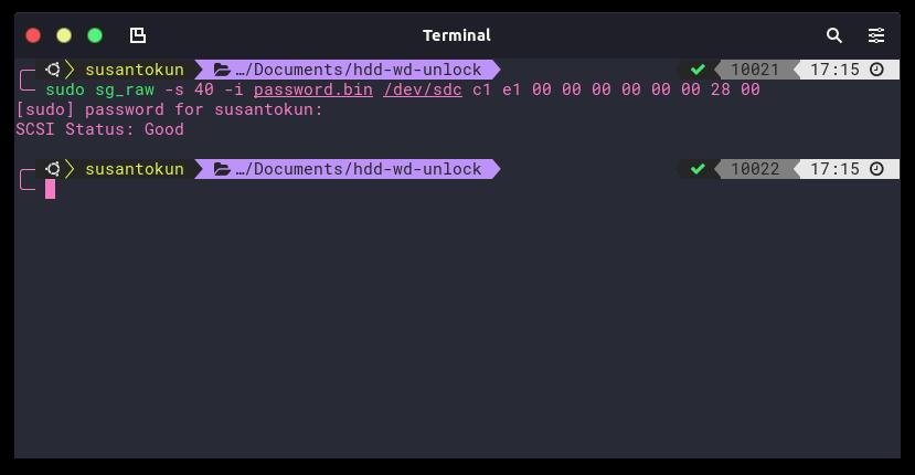 unlock hdd wd my passport on linux